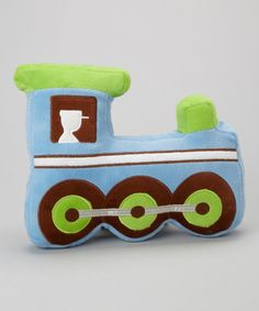 Love this Blue & Lime Train Pillow by Stephan Baby on #zulily! #zulilyfinds