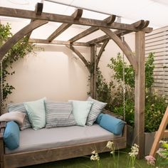 UK joinery company making quality wooden garden swing seats, benches, rockers, pergolas and swinging daybeds. Each one is handmade to a traditional or Feng Shui design. Wooden Garden Swing, Wooden Swing Bench, Garden Swing Seat, Wooden Swings, Diy Daybed, Outdoor Daybed, Outdoor Swing Beds, Garden Day Bed, Garden Beds