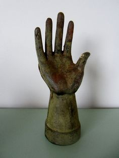 Vintage Metal Hand Glove Mold or for Palmistry Advert by candly