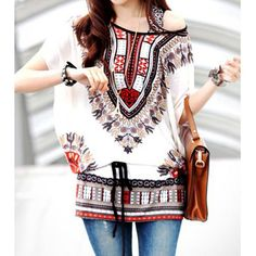 Wholesale Ethnic Style Scoop Neck Batwing Sleeves Print T-Shirt For Women Only $2.65 Drop Shipping | TrendsGal.com