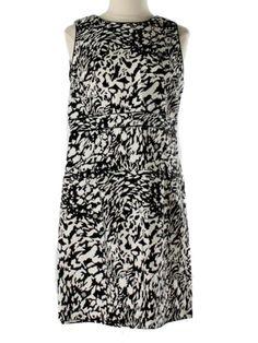 Women Tory Burch Black White Print Logo Shift Belted Dress Size 12