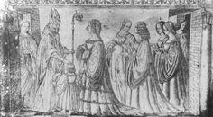 Lucrezia Borgia has to St. Maurelio son Hercules for the blessing. Engraved silver by Giannantonio Leli. Lucrezia Borgia, The Borgias, Italy History, Lady In Waiting, Italy Spain, Hercules, Woodblock Print, 16th Century, Renaissance