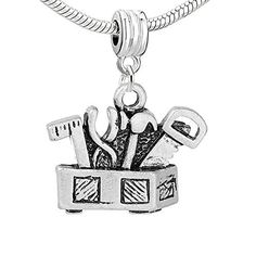 Workers Tool Box Dangle European Bead Compatible for Most European Snake Chain Bracelet