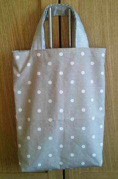 SHOPPING TOTE beige dotty lined silver by HandmadeVintageRose