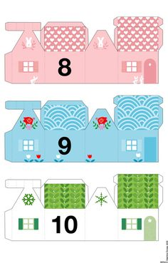 Paper houses - Le lapin dans la lune - Non dairy Diary - 9 and 10 Advent Calendar House, Countdown Calendar, Dairy Diary, Diy Paper, Paper Crafts, Advent Calenders, Glitter Houses, Theme Noel, Christmas Paper