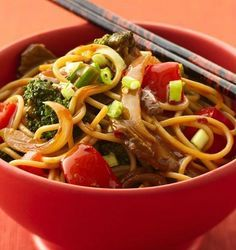 Recipe for Healthy Beef and Broccoli Stir-Fry - Try an Asian noodle bowl for dinner tonight. By making this quick dish at home, you control the fat, calories and sodium.