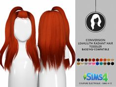 LEAH LILLITH RADIANT HAIR 001 - TODDLER VERSION | CE - SIMS 4 CC