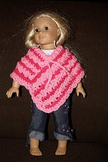 poncho to crochet for american girl doll (free pattern)