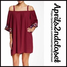 """❗️1-HOUR SALE❗️BOHO TUNIC Coverup DRESS BOHO TUNIC Shift DRESS Cold shoulders  New With Tags   * Square elastic neckline * Thick straps * 3/4 Long wide bell sleeves w/open cold shoulders * A relaxed A-line  * Beading & floral embroidered eyelet crochet Embellishment * About 35"""" long.  * polyester, cotton Lining * Color: Wine shirt dress ***Tagged XS, oversized will fit approx sizes 2-6 (S), thus listed as size S Fuschia No Trades ✅ Offers Considered*/Bundle Discounts✅ *Please use the blue…"""