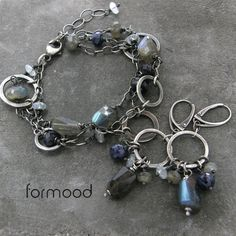 labradoryt, akwamaryn i szafir ... bransoletka Biżuteria Bransolety formood