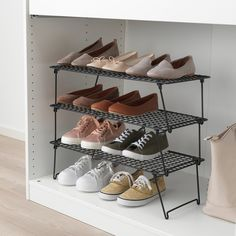 IKEA - GREJIG, Shoe rack, Just as practical for everyday shoes in the hallway as for fancy shoes in the wardrobe. And since the rack is foldable, you can have some extra racks in the hallway closet that you can unfold and stack when you have guests. Shoe Rack Bedroom, Shoe Rack Closet, Diy Shoe Rack, Shoe Rack Hall, Cheap Shoe Rack, Hanging Shoe Rack, Shoe Racks, Shoe Organizer, Closet Organization