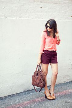 Zara peach blouse & Kohl's burgundy shorts
