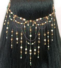 Edalene - Elven Queen Bridal Ivory Pearl Emerald Golden Renaissance Circlet/Headpiece. $146.00, via Etsy.