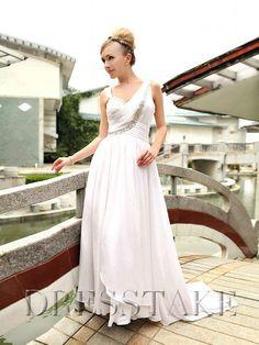 Pretty A-line Square Floor-length Beading Chiffon White Prom Dresses, US$52.97