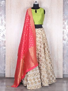 Parrot Green Cream Silk Lehenga Choli