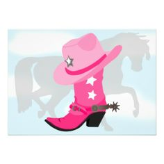 Pink Cowgirl Boot, Hat and Horse Birthday Party Custom Invitations