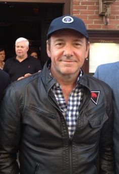 Kevin Spacey in front of Abe & Louie's in Boston.