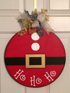 Items similar to Santa Suit Door Hanger.Hand Painted Wood Design on Etsy : Santa Suit Door Hanger.Hand Painted Wood Design by SuzCraftz Christmas Wood Crafts, Christmas Signs, Christmas Art, Christmas Projects, Holiday Crafts, Christmas Holidays, Christmas Wreaths, Christmas Ornaments, Christmas Door Hangers