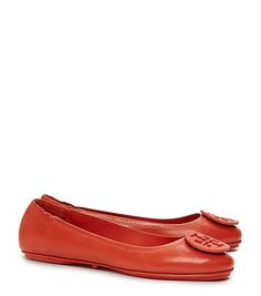My favorite splurge this summer! Tory Burch Logo Minnie Travel Ballet Flat, Leather