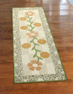 """""""Flowering Vine Table Set"""" by Michele Crawford (from The Quilter Magazine April/May 2013 issue)"""