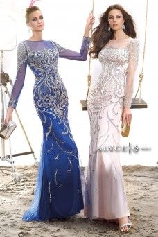 Claudine | Prom Dress Style #2439 long sleeve detailed prom dress blue and white