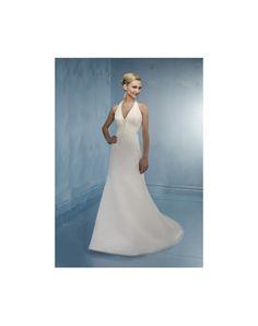 Robe de mariée en mousseline de soie à A-ligne à dos nu ornée de strass avec bretelle au cou - belle FR
