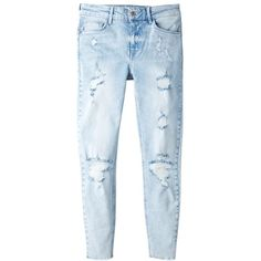 Mango Distressed Skinny Jeans, Open Blue ($48) ❤ liked on Polyvore featuring jeans, pants, bottoms, super skinny jeans, distressed jeans, bleached jeans, destroyed skinny jeans and skinny jeans
