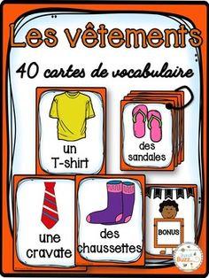 40 cartes de vocabulaire sur les vêtements. Ces cartes peuvent être utilisées pour le mur de mots, comme référentiels ou pour des jeux de littératie.