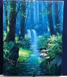 Canvas Painting Tutorials, Diy Canvas Art, Acrylic Painting Canvas, River Painting, Magical Paintings, Most Beautiful Paintings, Waterfall Paintings, Art Painting Gallery, Art Drawings Sketches Simple