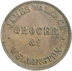WALLACE, James & Co., Wellington halfpenny, 1859 (A.593). Nearly extremely fine and scarce. / Ex Brian Bolton Collection. / MAD on Collections - Browse and find over 10,000 categories of collectables from around the world - antiques, stamps, coins, memorabilia, art, bottles, jewellery, furniture, medals, toys and more at madoncollections.com. Free to view - Free to Register - Visit today. #Coins #Tokens #MADonCollections #MADonC