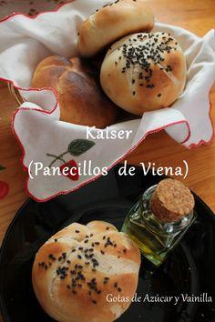 Gotas de Azúcar y Vainilla: Kaiser o panecillos de Viena Hamburger, Recipes, Vanilla, Sweets, Dinner Rolls, Breads, Meals, Bread Recipes, Vienna Bread