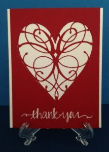 Thank you card using Grand Heart and LaRue Heart dies by Memory Box. Greeting from Oh Happy Day by Avery Elle.