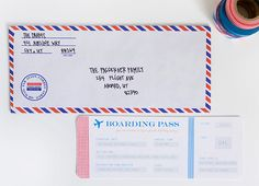 :: armelle blog ::: airplane party: invitations ... airmail envelopes
