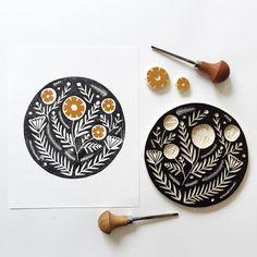 Floral Folk Art Linocut Print by Richelle Bergen. Printed on cotton rag paper. Lino Art, Motif Art Deco, Stamp Carving, Nordic Art, Scandinavian Art, Handmade Stamps, Linoprint, Stamp Printing, Linocut Prints