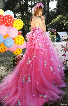 tiglily bridal 2016 strapless semi sweetheart ball gown wedding dress (lilian) mv pink color floral appliques romantic train