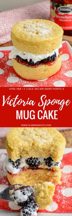 Low Syn Victoria Sponge Mug Cake all ready in minutes and perfect for when you fancy something sweet. Gluten Free, Vegetarian and Slimming World and Weight Watchers friendly Slimming World Sweets, Slimming World Puddings, Slimming World Recipes Syn Free, Slimming World Diet, Slimming Eats, Slimming World Biscuits, Sponge Cake Recipes, Mug Recipes, Sweet Recipes