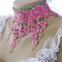 Victorian Lace Choker, Hand Dyed Lace Art Deco Choker, Pink and Green Lace…