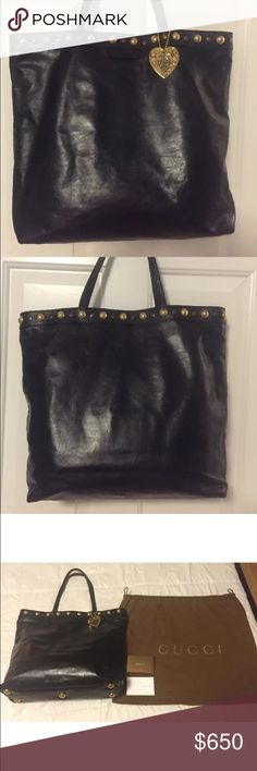 """Gucci Black Babouska Large Handbag Gucci's Black Studded Babouska Tote in excellent pre-owned condition! I only wore it handful of times and decided that it was too big for me. The handbag was always stored in its original dust bag. There are no stains inside or outside. This bag was purchased for $1,295 plus tax at a Gucci store in Atlanta, GA.  • 100% AUTHENTIC GUCCI SHOULDER BAG • MADE IN ITALY • MEASUREMENT (approx): 14"""" (L) x 14"""" (H) x 5"""" W Handle drop is about 8"""" • it comes with Gucci…"""