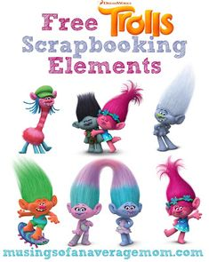 Free Trolls Scrabooking elements including characters, logo, digital paper and picture frames