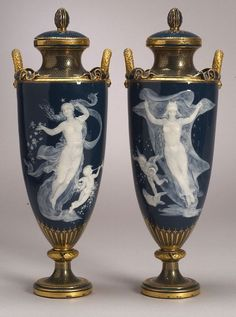 "Minton Pair of vases 15 ½"". Late 19c Sold Jul'05. Skinner. $28,000"