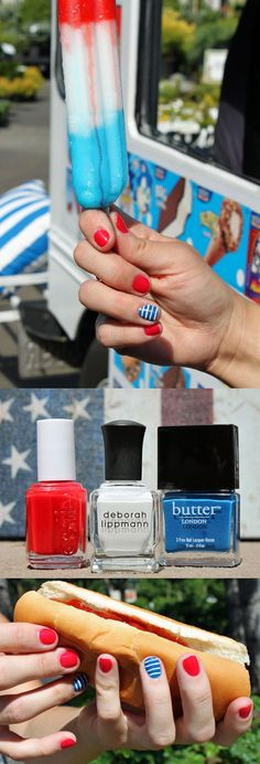 This Fourth of July, take inspiration from your summer Popsicles with a simple DIY mani.