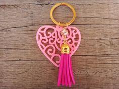 Items similar to OFF SALE / Pink Acrylic Heart Beige Crystal Bead Fuchsia Suede Tassel Handmade Keychain on Etsy Handmade Jewellery, Unique Jewelry, Handmade Gifts, Crystal Beads, Crystals, Pink Acrylics, Jewelry Accessories, Tutorials, Beige