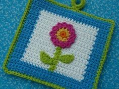 View Potholder Patterns by WhiskersAndWool on Etsy Potholder Patterns, Crochet Potholders, Crochet Squares, Crochet Motif, Crochet Flowers, Crochet Patterns, Knit Crochet, Crochet Kitchen, Crochet Home