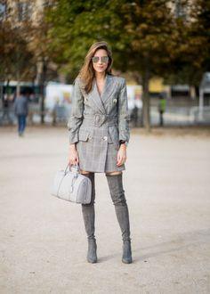 bb8e78ab867 Alexandra Lapp wearing the Essential Boston Bag with Monogramm in. Plaid  BlazerBlazer DressDress With BootsThigh High ...