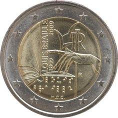 "Moneta Commemorativa""200° anniv. nascita Louis Braille"" Anno: 2009 Stato: Italia Piece Euro, Euro Coins, Valuable Coins, Gold Money, Commemorative Coins, World Coins, Money Matters, Coin Collecting, Postage Stamps"