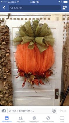 Mesh & burlap pumpkin wreath
