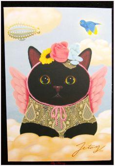 """Carte postale chat jolie impression matte série angel """"modèle 2"""" x1 : Papeterie, carterie par lilycherry"""