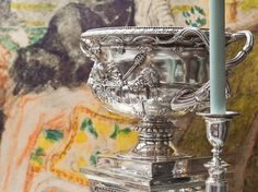 Baroque revival silver bowl, after Piranesi, from Might and Magnificence: Silver in the Georgian Age, summer 2014 selling exhibition cabinet display at The London Silver Vaults.