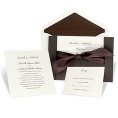 Mocha Filigree Wedding Invitation with Pocket