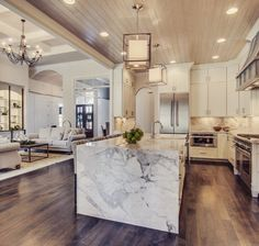 This marble waterfall island was a hit in our Parade home! This marble waterfall island was a hit in our Parade home! Waterfall Island, Waterfall Countertop, White Marble Kitchen, White Kichen, Küchen Design, Interior Design, Design Ideas, Design Concepts, Marble Interior